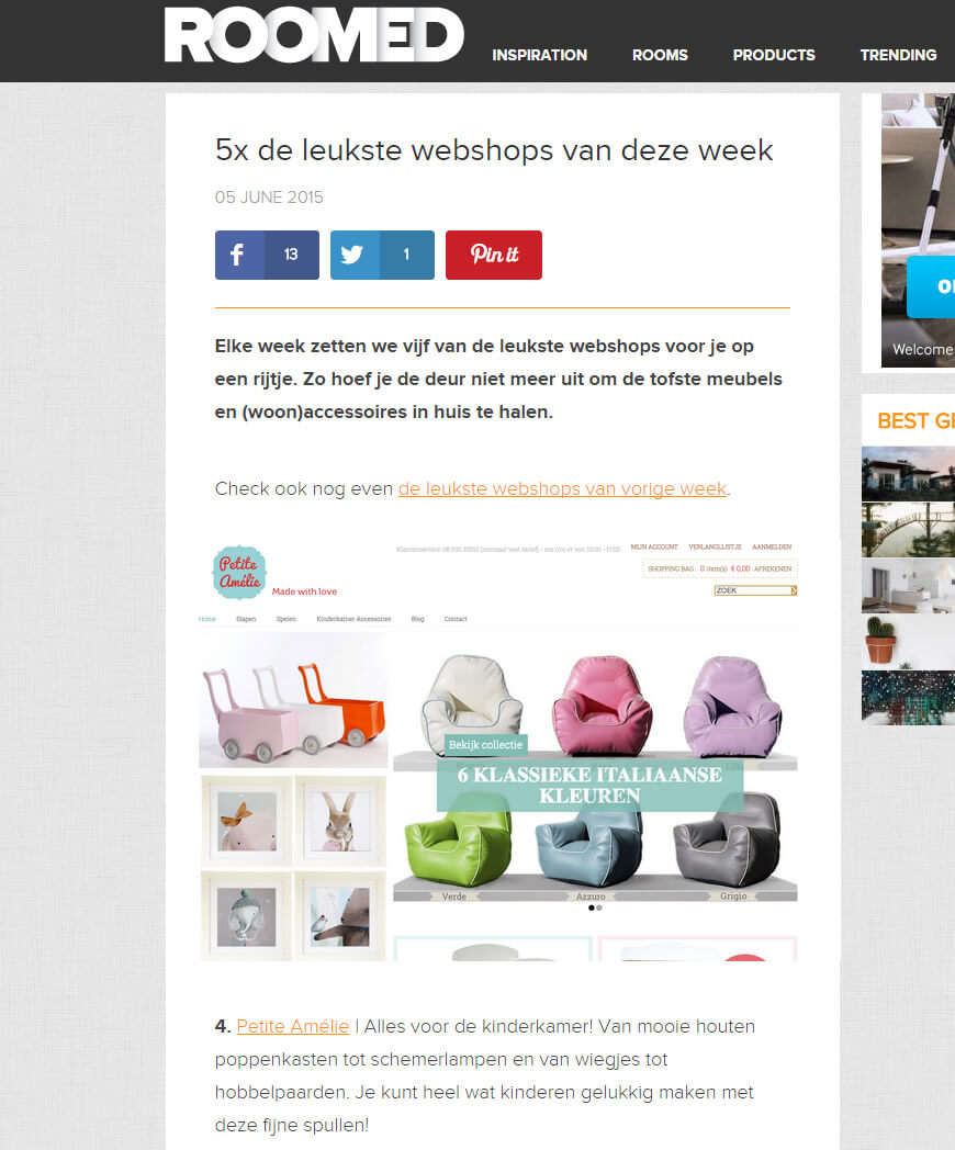 Roomed.nl | Top 5 webshops 6 juni 2015